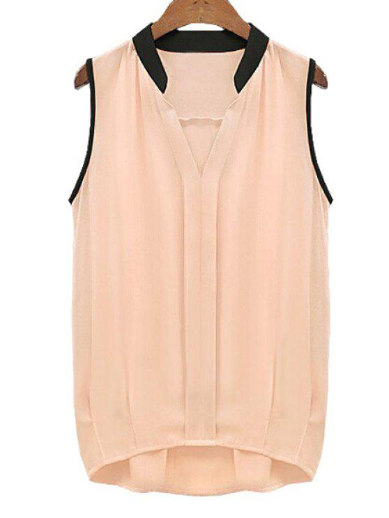 outfit V-Neck Black Edging Ruffle Sleeveless Shirt - PINK 2XL