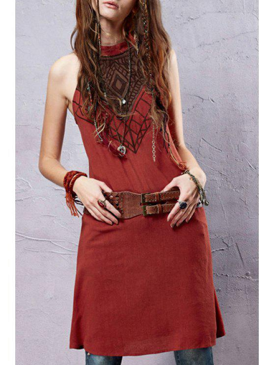 womens Embroidery Linen Sleeveless Dress - JACINTH S