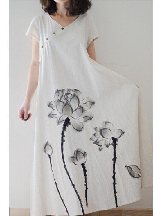 shops Ink Lotus Print Short Sleeve Dress - OFF-WHITE M