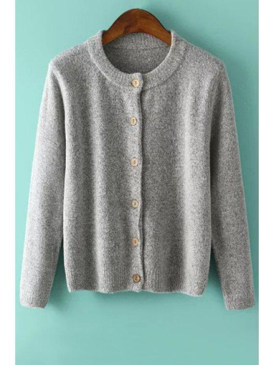 trendy Solid Color Single-Breasted Cardigan - GRAY ONE SIZE(FIT SIZE XS TO M)