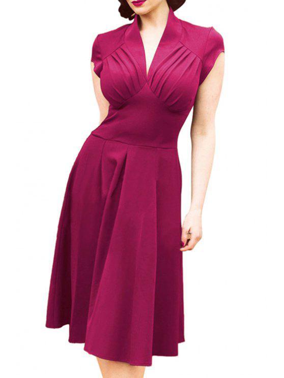 online V-Neck Solid Color Ruffle Short Sleeve Dress - VIOLET XL