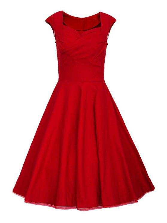 fancy Sweetheart Collar Solid Color Ruffle Dress - RED S