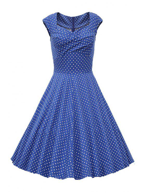 women's Sweetheart Collar Polka Dot Ruffle Short Sleeve Dress - LIGHT BLUE M