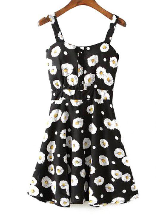 trendy A-Line Flower Print Sundress - BLACK S