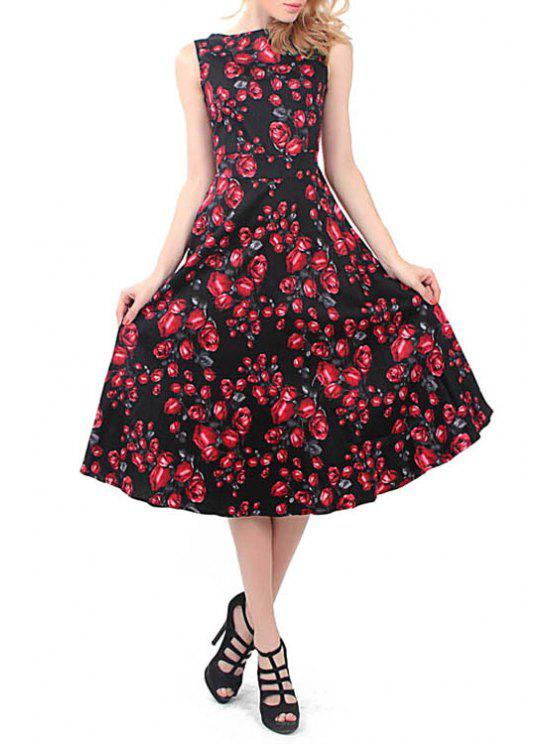 outfits Red Floral Print Tie Knot Sleeveless Dress - BLACK XL