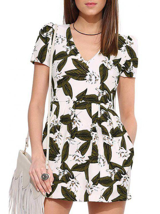 womens Leaf Print V Neck Short Sleeve Playsuit - WHITE AND BLACK XS