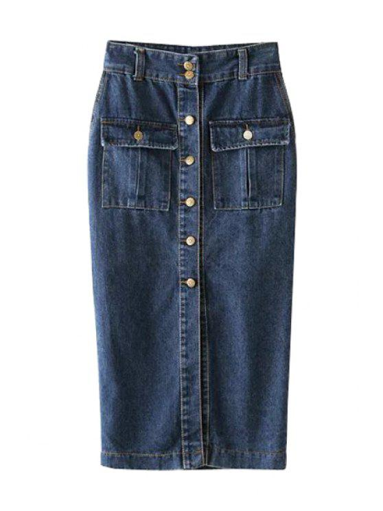 fashion Single-Breasted Pocket Design Denim Midi Skirt - DEEP BLUE S