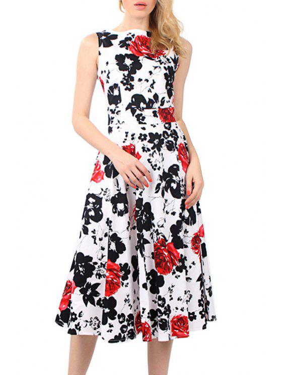 trendy Floral Print Tie Knot Sleeveless Dress - RED S