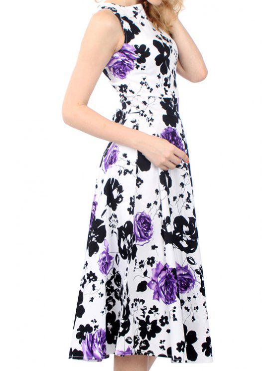 best Floral Print Tie Knot Sleeveless Dress - PURPLE M
