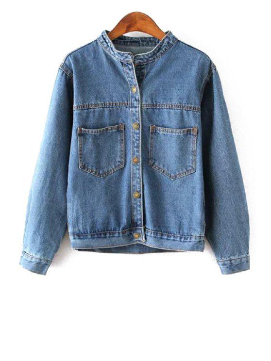 women All-Match Single-Breasted Pocket Denim Jacket - DEEP BLUE S