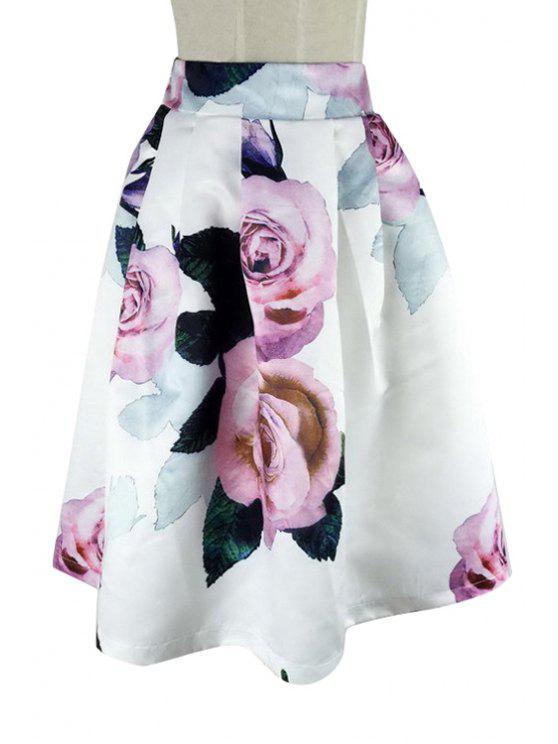buy Rose Print Ball Gown Skirt - WHITE S