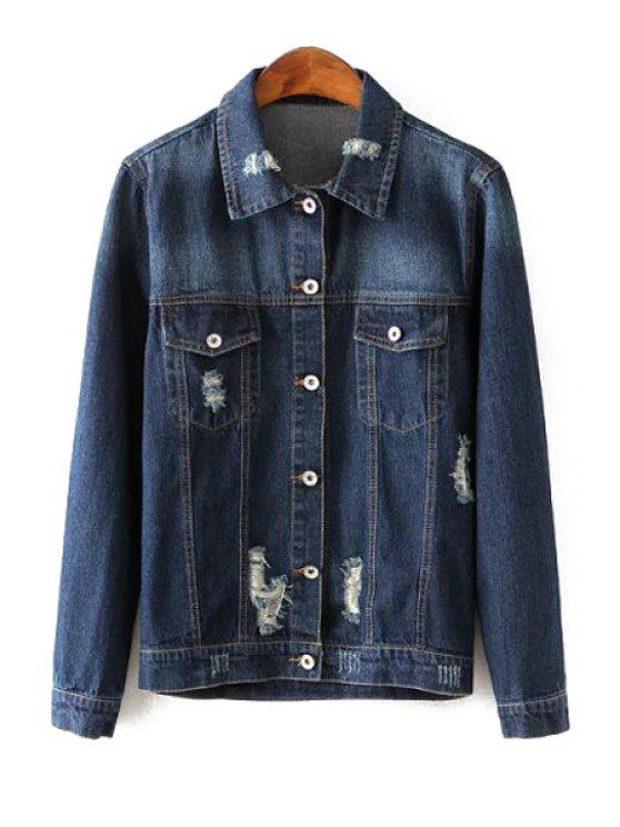lady Broken Hole Tiger Print Denim Jacket - BLUE S