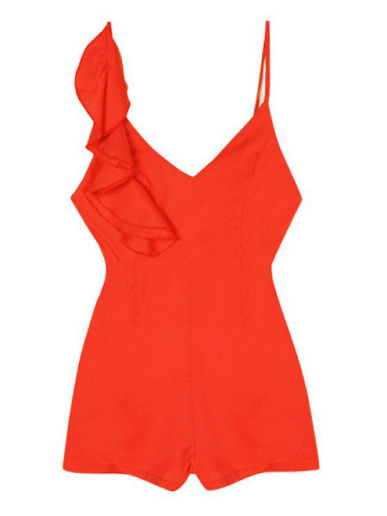 best Spaghetti Strap Backless Flounce Splicing Romper - RED S