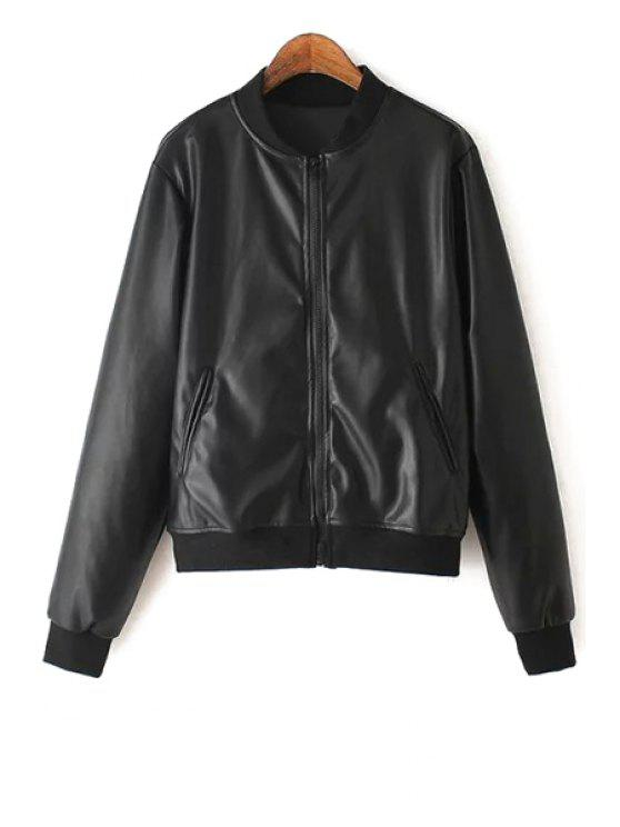 best Black Zippered Pocket Design PU Leather Jacket - BLACK S