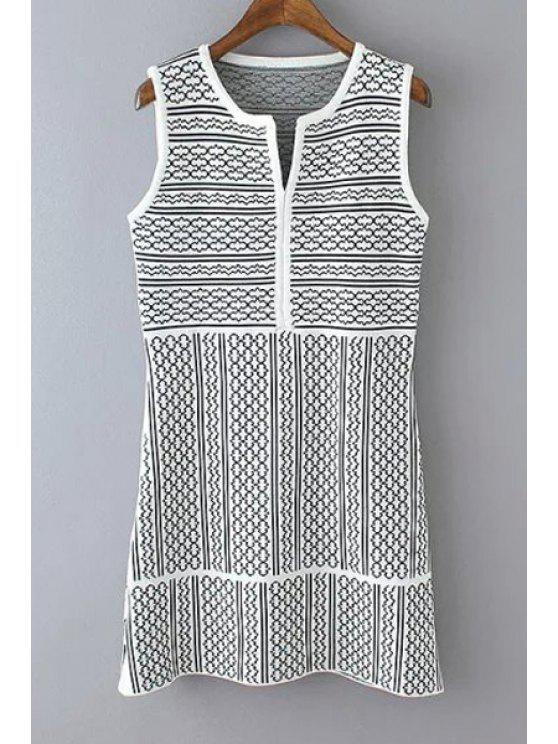 new Knitted Jacquard Sweater Dress - WHITE AND BLACK ONE SIZE(FIT SIZE XS TO M)