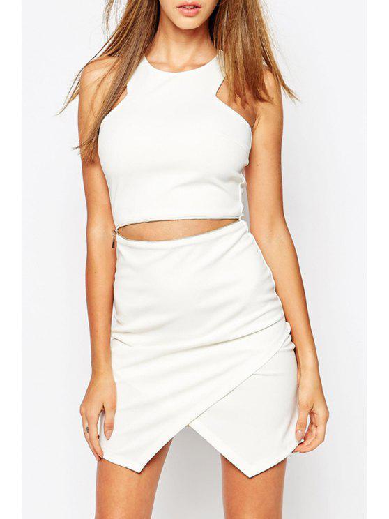 fashion Waist Zipper Embellished Sleeveless Dress - WHITE S