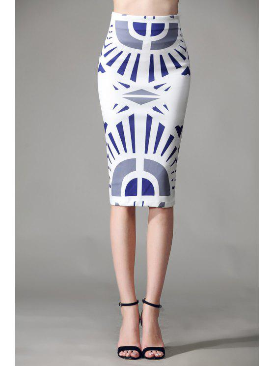 online Geometric Print Zipper Fly Skirt - WHITE L