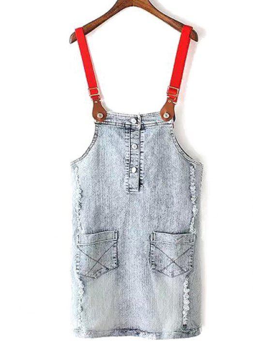 chic Bleach Wash Button and Pocket Design Denim Braces Skirt - LIGHT BLUE S