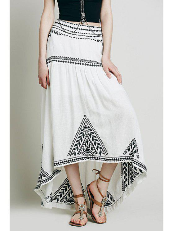 hot Geometric Pattern Embroidery Skirt - WHITE S