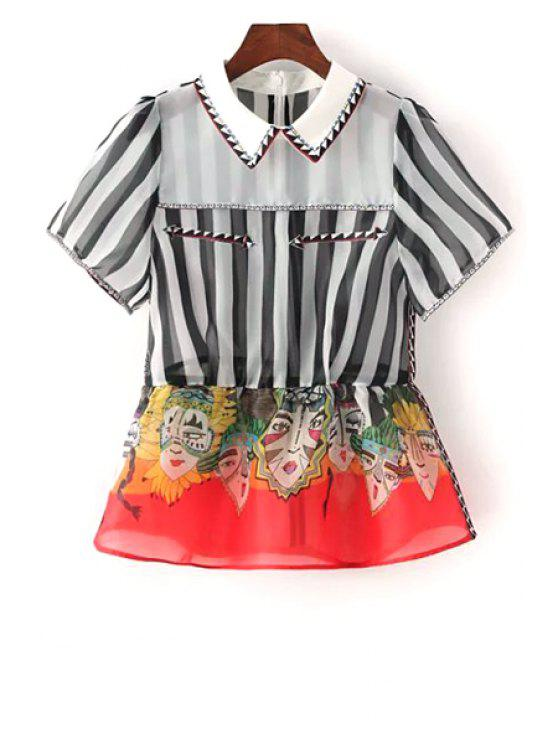 best Facial Makeup Print Spliced Stripes Blouse - BLACK AND WHITE AND RED S