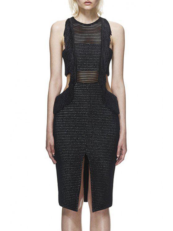 sale See-Through Slit Backless Sleeveless Dress - BLACK S
