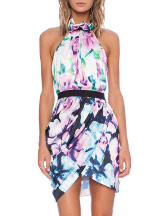 outfit Halter Neck Floral Print Backless Dress - PURPLISH BLUE M