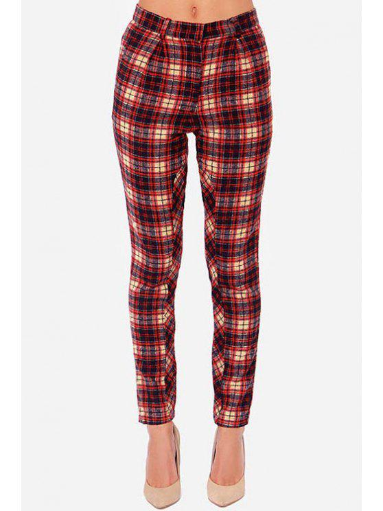 buy Plaid Pattern Narrow Feet Pants - AS THE PICTURE XS
