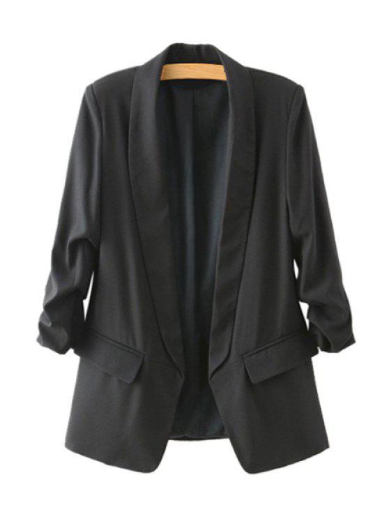 new Draped Sleeve Solid Color Pocket Design Blazer - BLACK S