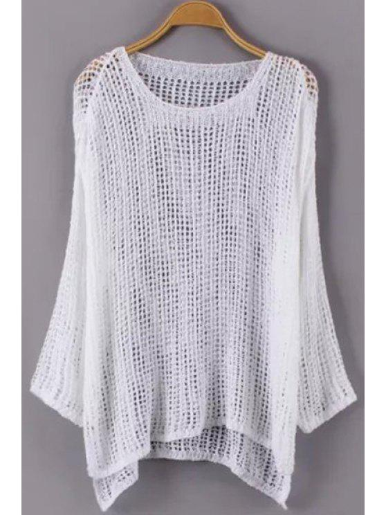 outfit High Low Hem Long Sleeve Knitwear - WHITE ONE SIZE(FIT SIZE XS TO M)