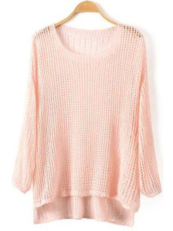 fashion High Low Hem Long Sleeve Knitwear - PINK ONE SIZE(FIT SIZE XS TO M)