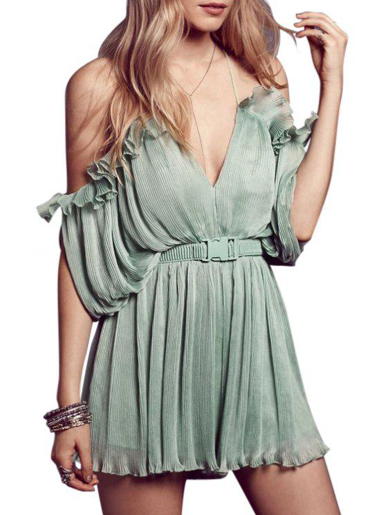 womens Spaghetti Strap Cross Backless Solid Color Romper - GREEN M