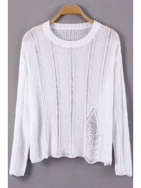 fancy Broken Hole Long Sleeves Sweater - WHITE ONE SIZE(FIT SIZE XS TO M)