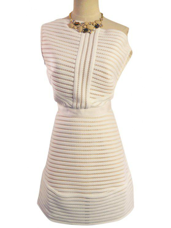 womens One Shoulder See-Through Stripe Dress - WHITE S