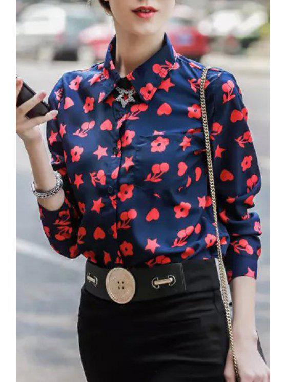 outfits Red Heart Print Single-Breasted Shirt - BLUE S