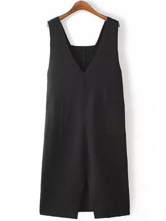 women's Black Plunging Neck Sleeveless Dress - BLACK M