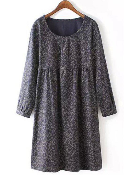 new Tiny Floral Scoop Neck Long Sleeve Dress - CADETBLUE 2XL