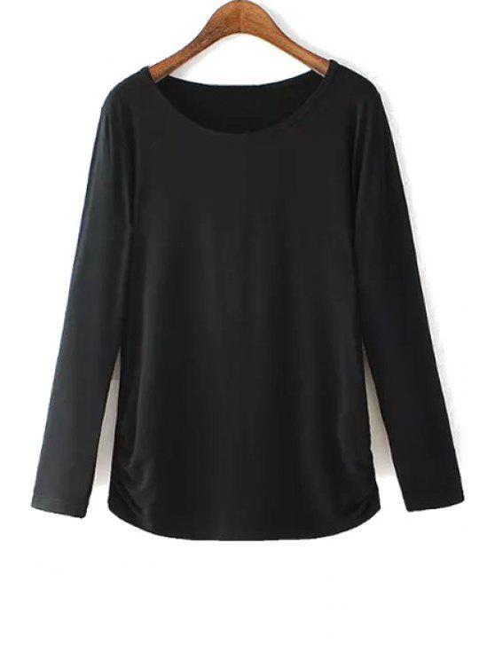 affordable Black Scoop Neck Long Sleeve T-Shirt - BLACK L
