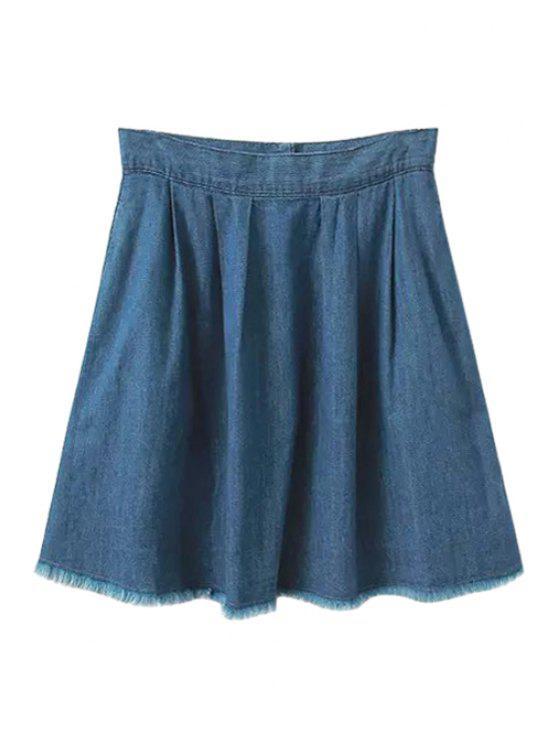 aec543f989 32% OFF] 2019 Ruffled Zipper-Fly Denim Mini Skirt In BLUE   ZAFUL