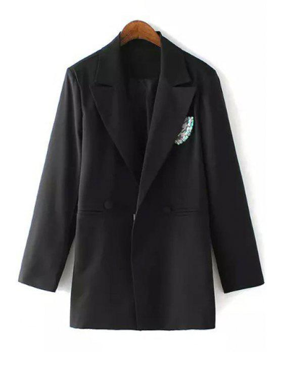 outfits Black Lapel Neck Long Sleeve Blazer - BLACK M