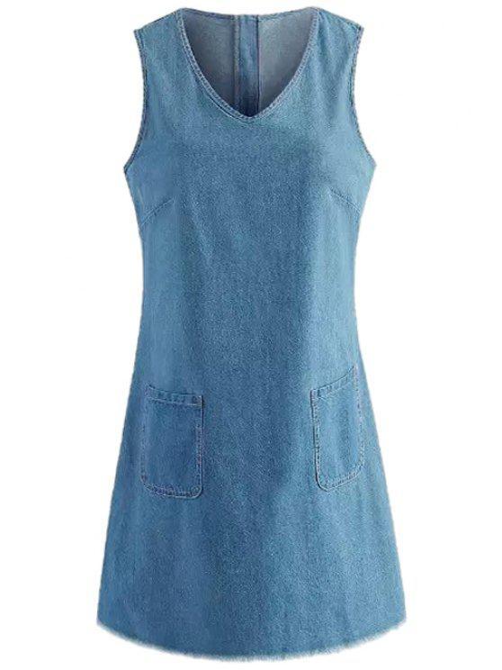 outfits Solid Color Pocket Design Denim Dress - BLUE S
