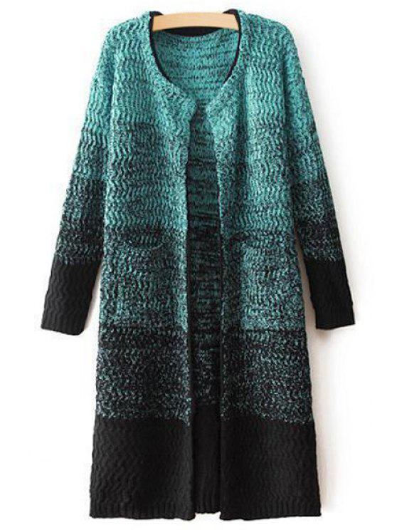 lady Ombre Color Long Sleeve Cardigan - BLUE ONE SIZE(FIT SIZE XS TO M)