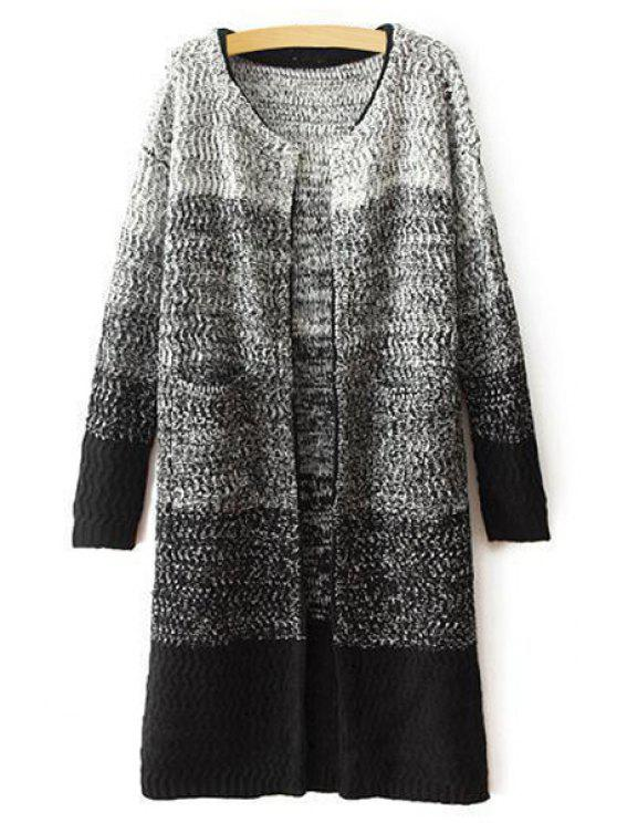 best Ombre Color Long Sleeve Cardigan - GRAY ONE SIZE(FIT SIZE XS TO M)