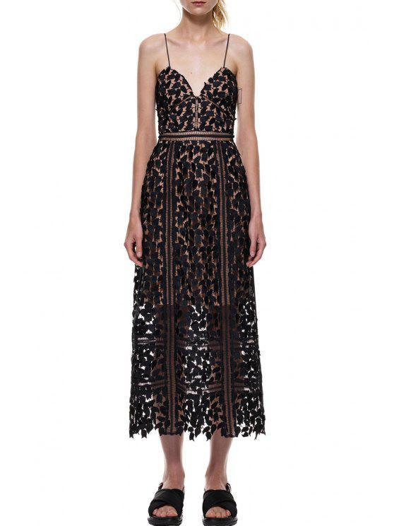 women's Spaghetti Strap Leaves Pattern See-Through Dress - BLACK S
