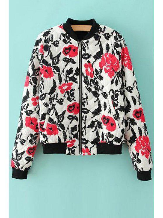 fancy Red Floral Print Stand Neck Jacket - BLACK AND WHITE AND RED S