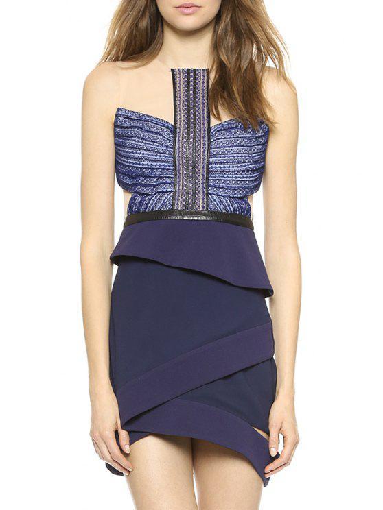 shops Hollow Out Splicing Sleeveless Dress - BLUE S