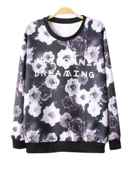 women Floral Print Letter Pattern Sweatshirt - BLACK S