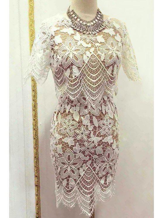trendy Floral Pattern Short Sleeve Crop Top + Mini Skirt - WHITE S