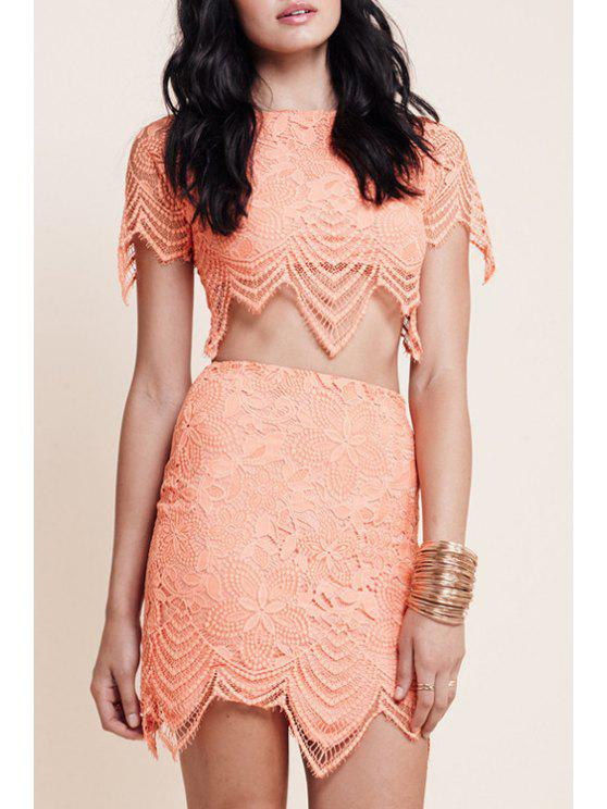 fancy Floral Pattern Short Sleeve Crop Top + Mini Skirt - ORANGEPINK M