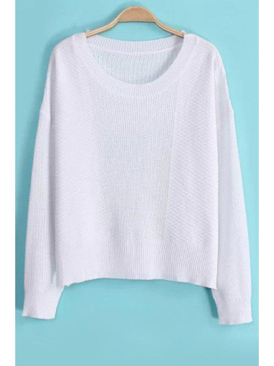 sale Candy-Colored Knitted Side Slit Sweater - WHITE M