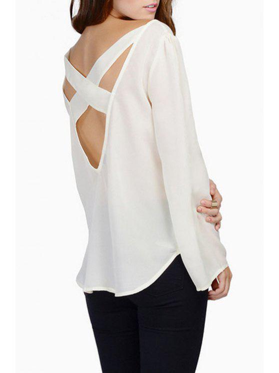 ladies Backless Cross Long Sleeve T-Shirt - WHITE S
